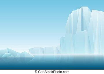 Realistic soft fog arctic iceberg ice mountains with blue sea, winter landscape. Vector nature cartoon background illustration.