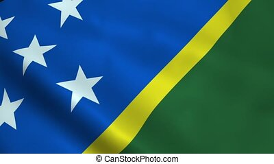 Realistic Solomon Islands flag