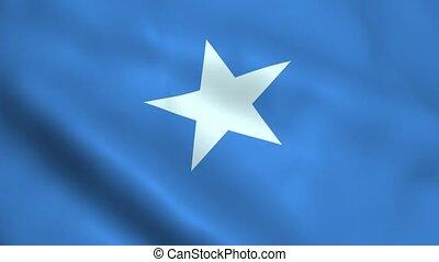 Realistic Somalia flag waving in the wind. Seamless looping.