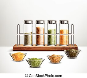 Realistic Spices Composition - Realistic spices in bowls and...