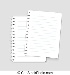 Realistic spiral vector lined notebook isolated