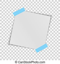 Realistic square white sheet of paper isolated on a transparent background. Blue scotch tape. Template for your project. Vector