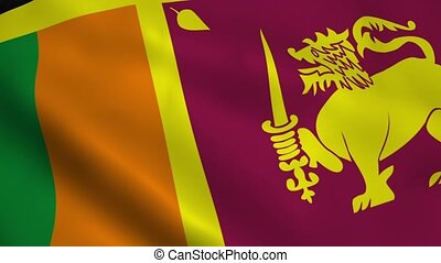 Realistic Sri Lanka flag waving in the wind. Seamless...
