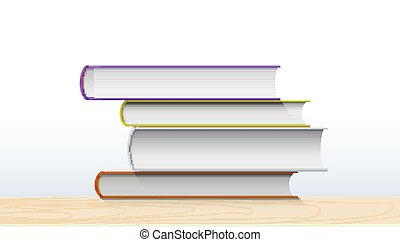 Realistic stack of books isolated on white background. Vector 3d illustration