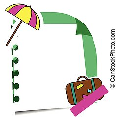 Realistic sticky note with summer holidays stickers. Paper reminder hanging with adhesive and travel labels
