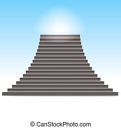 Realistic stone ladder vector illustration.