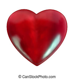 Realistic stone red heart.