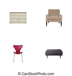Realistic Stool, Cupboard, Footstool And Other Vector Elements. Set Of Design Realistic Symbols Also Includes Chair, Pouffe, Pouf Objects.