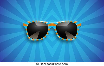 Realistic striped sunglasses on yellow background, vector illustration