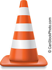 realistic striped traffic cone illustration on white background