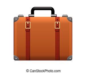 Realistic Suitcase Icon on White Background
