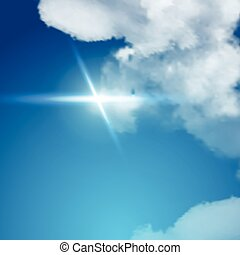 Realistic sun flare with clouds on blue sky.