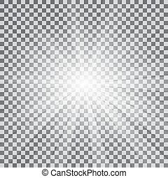 Realistic sun rays light effect on a transparent background