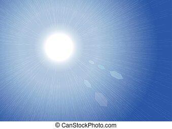 Sunburst on Blue Sky Background