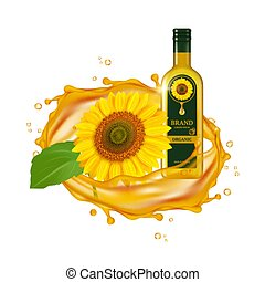 Realistic sunflower oil. Vector oil drops and yellow flower with green leaf. Glass bottle and sunflower