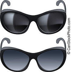 Realistic sunglasses. Set of two. The illustration on white...