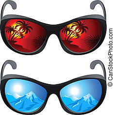Realistic sunglasses. Set the first. The illustration on ...