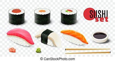 Realistic Sushi Set