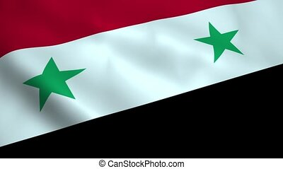 Realistic Syrian flag waving in the wind. Seamless looping.