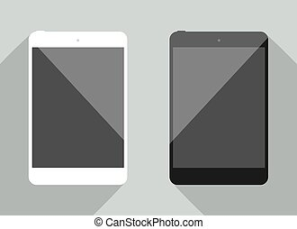 Realistic tablet collection in new ipad style. White and black device with shadow isolated on gray background. Smart template for your design, web site, development app.
