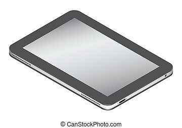 Realistic tablet in isometry isolated on a white background.