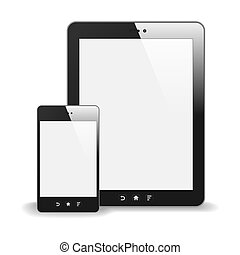 Realistic Tablet PC And Smart Phone With Blank Screen. With Reflection. Isolated On White Background. Vector Illustration