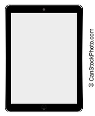 Realistic tablet pc computer with blank screen isolated on white background.