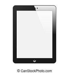 Realistic Tablet PC With Blank Screen. Vertical, Black. Isolated On White Background. Vector Illustration