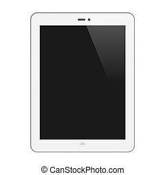 Realistic Tablet PC With Blank Screen. Vertical, White. Isolated On White Background. Vector Illustration