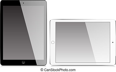 Realistic tablet with blank screen