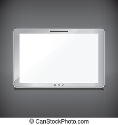 Realistic tablet with blank screen isolated on dark background