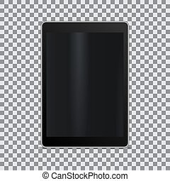 Realistic tablet with blank screen on a transparent background