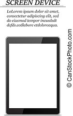 Realistic tablet with blank screen on a white background