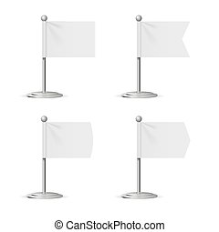 Realistic Template Blank White Flags Pocket Table. Vector
