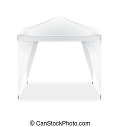Realistic Template Blank White Folding Tent. Vector
