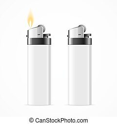 Realistic Template Blank White Lighter. Vector