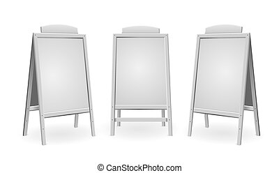 Realistic Template Blank White Menu Board Set. Vector