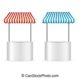 Realistic Template Blank White Street Fast Food Market Table Set. Vector