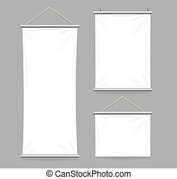 Textile Banners with Folds Set. Vector