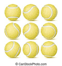 Realistic Tennis Ball Set Vector. Classic Round Yellow Ball. Different Views. Sport Game Symbol. Isolated Illustration
