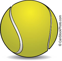 Realistic tennis ball with outline on a white background.
