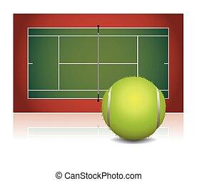 Realistic Tennis Court Illustration