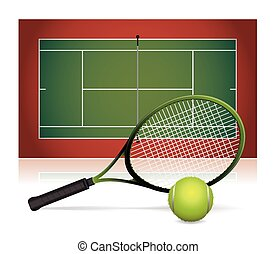 An illustration of a tennis court with a tennis racket and tennis ball. Vector EPS 10 available.