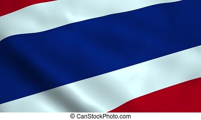 Realistic Thailand flag waving in the wind. Seamless looping.