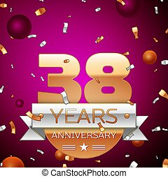 Realistic Thirty eight Years Anniversary Celebration Design. Golden numbers and silver ribbon, confetti on purple background. Colorful Vector template elements for your birthday party