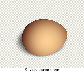 Realistic, three-dimensional egg, brown in color, with soft shadow. Element vector 3d style isolated on a transparent background.