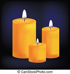 Realistic three yellow candles