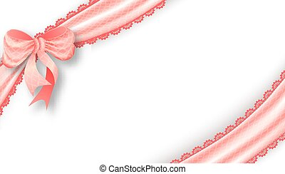 Realistic tied the corners pink bow and satin ribbon. Vector...