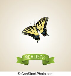 Realistic Tiger Swallowtail Element. Vector Illustration Of Realistic Checkerspot Isolated On Clean Background. Can Be Used As Tiger, Swallowtail And Butterfly Symbols.