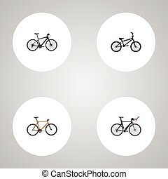 Realistic Timbered, Hybrid Velocipede, Extreme Biking And Other Vector Elements. Set Of Bike Realistic Symbols Also Includes Hybrid, Triathlon, Timbered Objects.